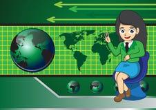 Geschäftsfrau- und Kugeltechnologie lizenzfreie abbildung