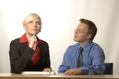 Geschäftsfrau und Mann stockbild
