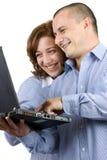 Geschäftsfrau und Mann, die zusammenarbeiten stockfoto