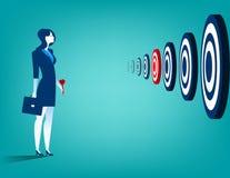 Geschäftsfrau und mehrfache Ziele Stockbilder