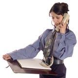 Geschäftsfrau und Telefon stockfotografie