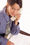 Geschäftsfrau und Telefon stockfotos