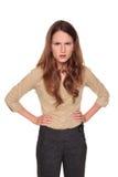 Geschäftsfrau - verärgertes Stirnrunzeln lizenzfreie stockfotos