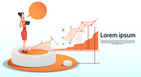 Geschäftsfrau-Visualization Analysis Finance-Diagramm-Finanzgeschäfts-Diagramm-Kopien-Raum Lizenzfreies Stockbild