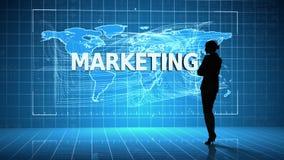 Geschäftsfrau vor Schnittstelle des globalen Geschäfts stock abbildung