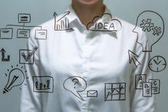 Geschäftsfrau vor virtuellem Schirm mit Kopienraum für Text oder Design Lizenzfreie Stockbilder