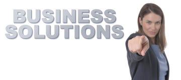 Geschäftsfrau, welche die Text GESCHÄFTS-LÖSUNGEN zeigt Lizenzfreie Stockbilder