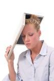 Geschäftsfrau-werfender Laptop 4 Stockbilder