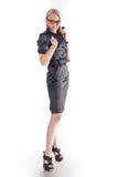 Geschäftsfrau whith Stift stockfoto
