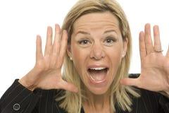 Geschäftsfrau Yells Lizenzfreie Stockfotos