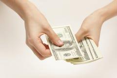 Geschäftsfrau zählt Geld stockbild