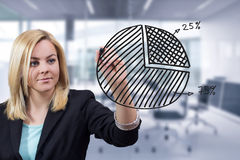 Geschäftsfrau-Zeichnungs-Kreisdiagramm im Büro Lizenzfreie Stockbilder