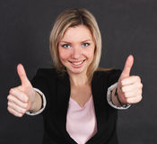 Geschäftsfrau zeigt eine Geste von großem Lizenzfreie Stockbilder