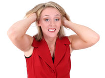 Geschäftsfrau-Zug-Haar heraus frustriert Lizenzfreie Stockbilder
