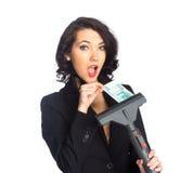 Geschäftsfrau-Zuggeld vom Staubsauger Stockfotos