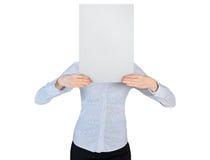 Geschäftsfrauabdeckung mit leerem Brett Stockfotografie