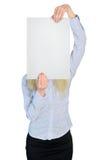 Geschäftsfrauabdeckung mit leerem Brett Stockbilder