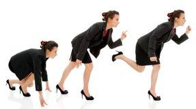 Geschäftsfrauanfangslaufgeschäfts-Karrierewettbewerb lokalisiert Stockbild