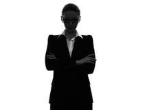 Geschäftsfrauarme kreuzten Porträtschattenbild stockbilder