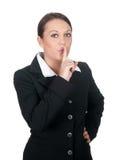 Geschäftsfrauaufrufe für Ruhe Stockbild