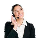 Geschäftsfraubediener mit Kopfhörer Lizenzfreie Stockbilder