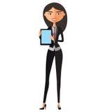 Geschäftsfraucharakter unter Verwendung der Tablette Junger Banker mit Tablette Vektor Lizenzfreies Stockbild
