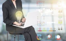 Geschäftsfrauen übergeben das Halten der Glühlampe, Konzept von neuen Ideen Stockfoto