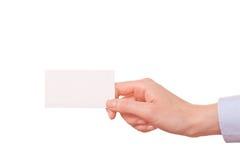 Geschäftsfrauen, die eine Visitenkarte übergeben Lizenzfreies Stockbild