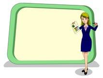 Geschäftsfrauen im Wundergefühl mit enormen leeren Brettern Lizenzfreie Stockfotos