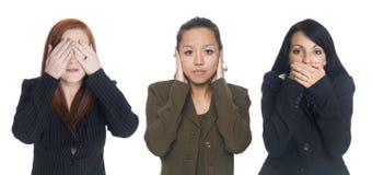 Geschäftsfrauen - kein Übel Lizenzfreie Stockbilder