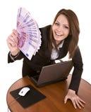 Geschäftsfrauen mit Gruppe des Geldes und des Laptops. Stockbild