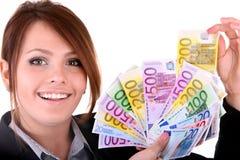 Geschäftsfrauen mit Gruppe Geld. Lizenzfreie Stockfotografie