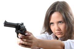 Geschäftsfrauen zielt einen Revolver Stockbilder