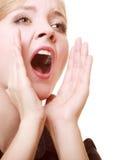 Geschäftsfraufrau, die um Hilfe ruft Problem in der Arbeit Lizenzfreies Stockfoto