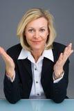 Geschäftsfraugestikulieren Stockfoto