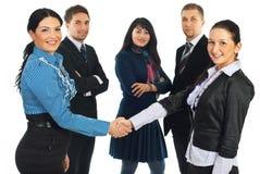 Geschäftsfrauhändedruck Lizenzfreies Stockbild