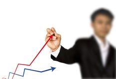 Geschäftsfrauhand schreiben Diagramm Stockfotografie