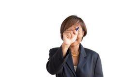 Geschäftsfrauhandschreiben lizenzfreie stockfotografie