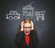 Geschäftsfrauhausfrau im Druck von vielen Geschäften, Arbeit, h Lizenzfreie Stockfotos