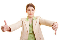 Geschäftsfrauholding Thump oben Lizenzfreie Stockfotografie