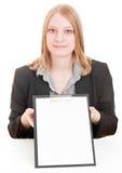 Geschäftsfrauholdingklemmbrett Lizenzfreies Stockfoto