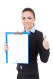 Geschäftsfrauklemmbrett und -o.K. Lizenzfreies Stockfoto