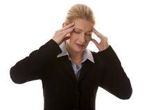Geschäftsfraukopfschmerzen Lizenzfreie Stockfotografie