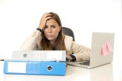 Geschäftsfrauleidendruck am Bürocomputertisch besorgtes deprimiertes schauend und überwältigt Lizenzfreie Stockfotos