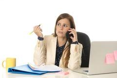 Geschäftsfrauleidendruck am Bürocomputertisch besorgtes deprimiertes schauend und überwältigt Stockfoto