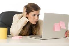 Geschäftsfrauleidendruck am Bürocomputertisch besorgtes deprimiertes schauend und überwältigt Stockbilder