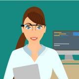 Geschäftsfraunahaufnahme, die intelligenten Gläser trägt Stockbilder