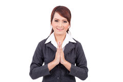 Geschäftsfrauporträt in einer willkommenen Haltung Stockfotos