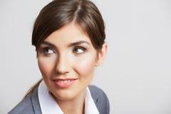 Geschäftsfrauporträt lokalisiert auf Weiß Stockbilder
