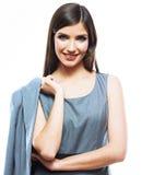 Geschäftsfrauportrait getrennt auf Weiß Lizenzfreie Stockfotos